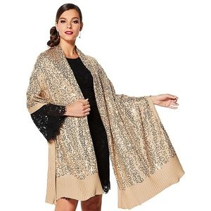 IMAN Glamorous Sequin Covered Shawl Scarf Sparkle